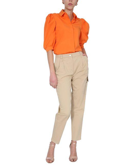 Boutique Moschino Natural Tall Waist Cotton Gabardine Pants