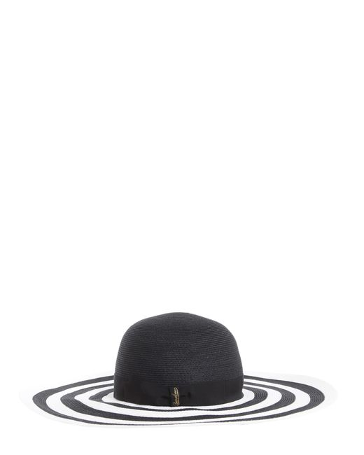 Borsalino - Black Bicolor Wide Brim Braided Hemp Hat - Lyst