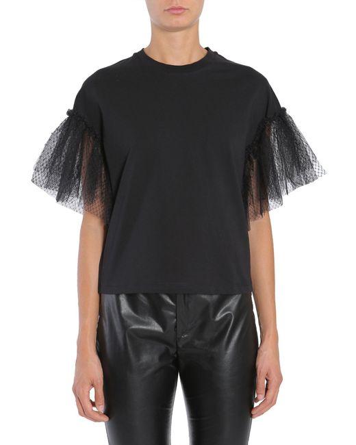 MSGM | Black Tulle Sleeve Cotton T-shirt | Lyst