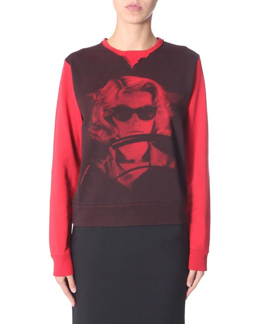 N°21 Red Printed Round Neck Cotton Sweatshirt