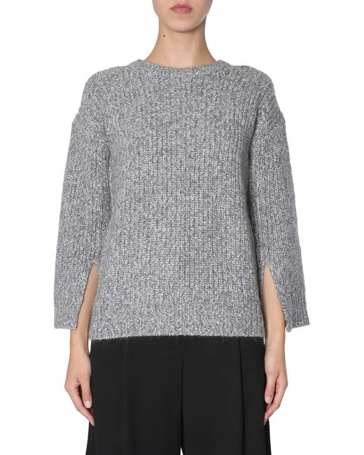 93f02a61061 MICHAEL Michael Kors - Gray Cable Knit Wool Sweater With Slits On Sleeves -  Lyst ...