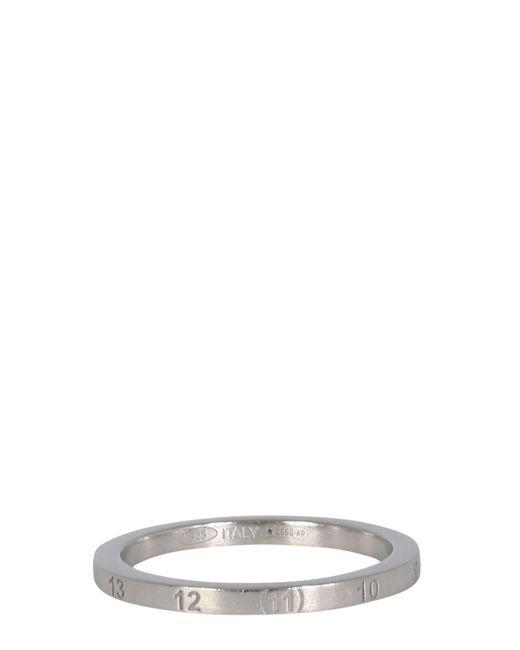 Maison Margiela Metallic Thin Silver Ring With Numeric Logo for men