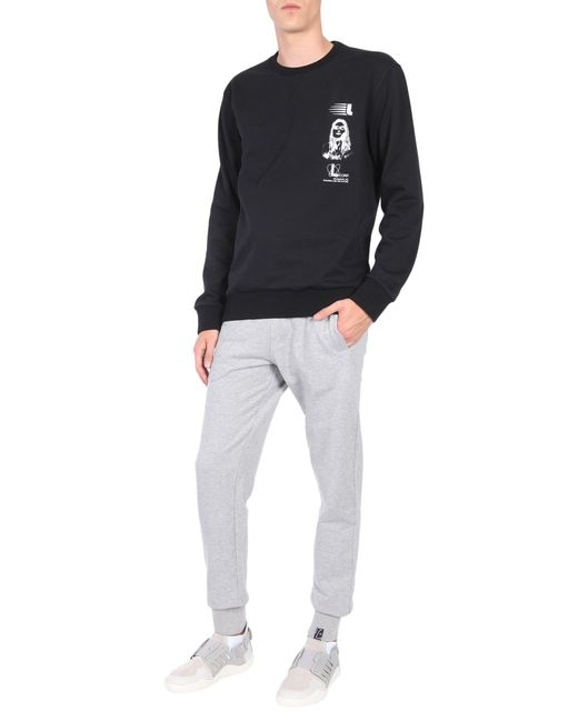 Lanvin - Black Cotton Sweatshirt With Symbol Branding Print for Men - Lyst