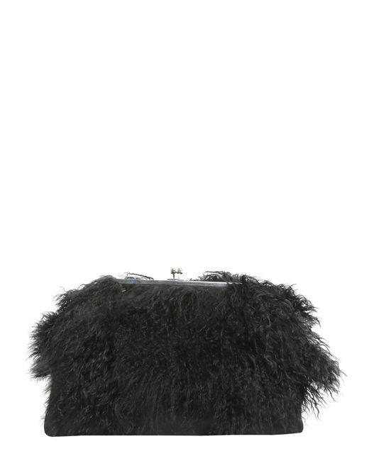 CLUTCH CON TRACOLLA E PELLICCIA DI MONGOLIA di DSquared² in Black