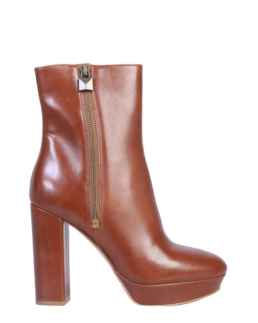 "MICHAEL Michael Kors Brown ""frenchie"" Leather Boot With Plateau"