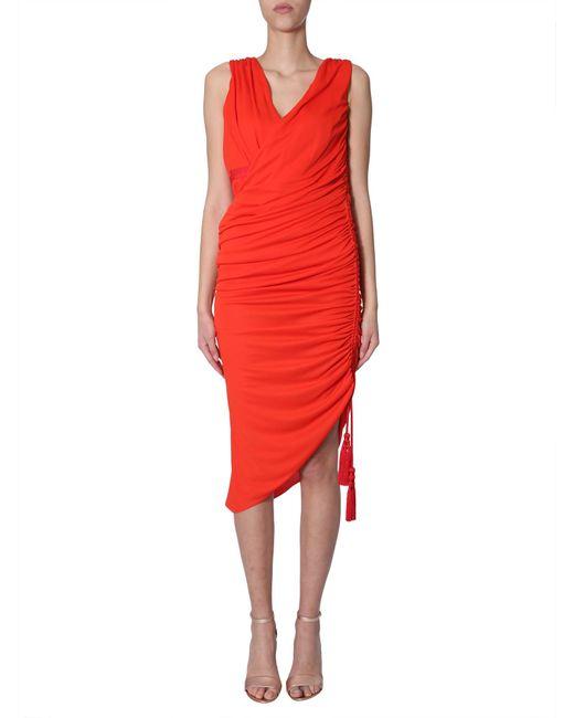 Lanvin Red Draped Midi Dress