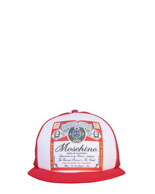 Moschino Red Budweiser Printed Baseball Hat for men