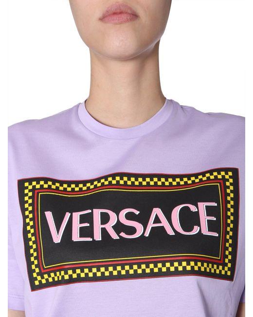 0599c208 ... Versace - Purple Cotton Jersey T-shirt With 90s Vintage Logo Print -  Lyst ...