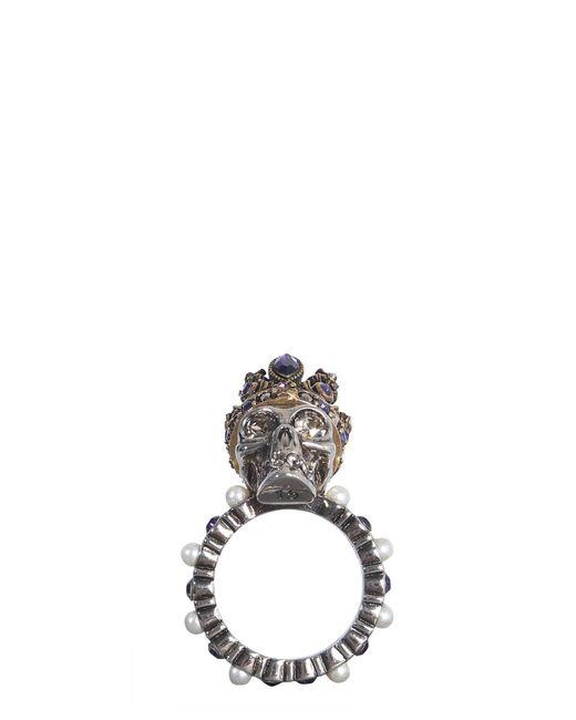 Alexander McQueen Multicolor Skull Swarovski Ring