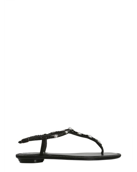 Rene Caovilla - Black Leather Sandals With Pearls - Lyst