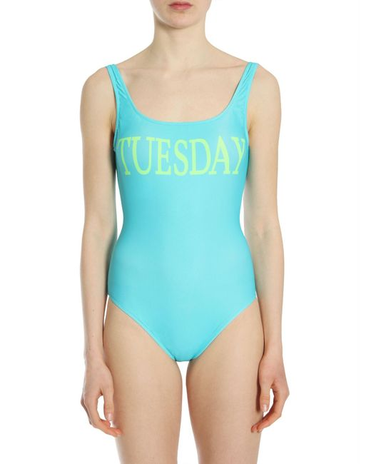 "Alberta Ferretti - Blue Costume Intero Con Stampa ""tuesday"" - Lyst"
