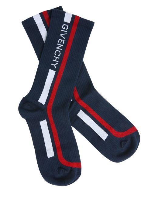 Givenchy - Blue Cotton Blend Socks With Logo for Men - Lyst