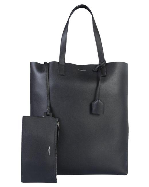 Saint Laurent Black Soft Leather Shopping Bag