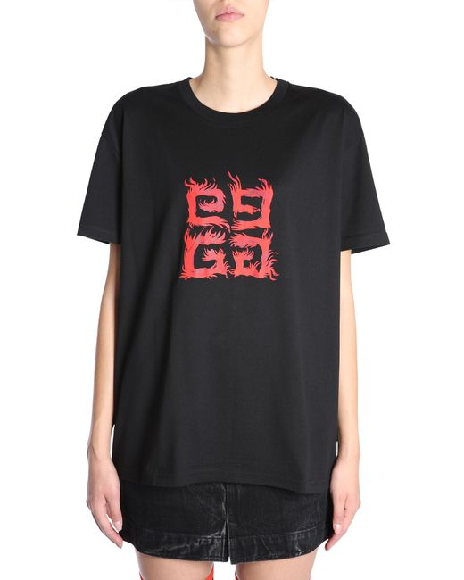 Givenchy - Black Round Collar T-shirt With 4g Flame Print - Lyst