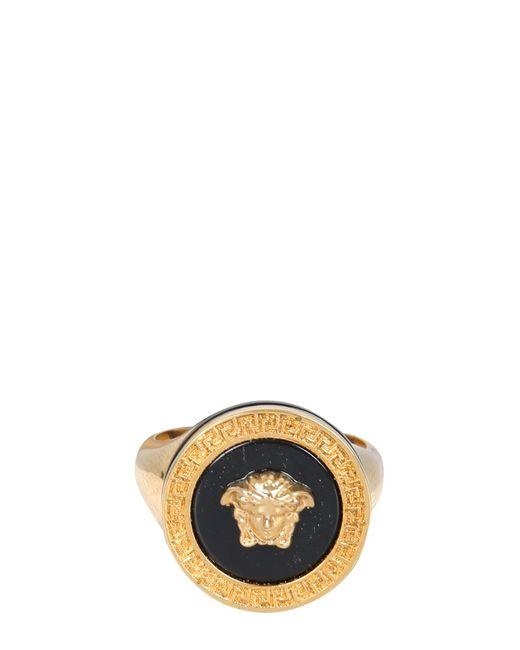 Versace Black Medusa Resin And Metal Ring for men