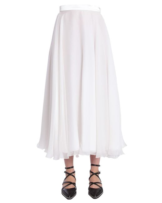 100% authentic 8f872 e991b Women's White Gonna Lunga In Organza Di Seta Con Fascia In Raso