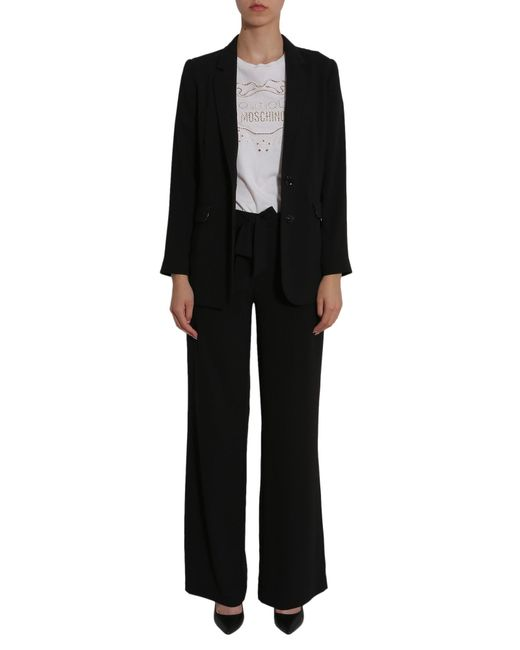 Boutique Moschino Black Wide Trousers With Bow