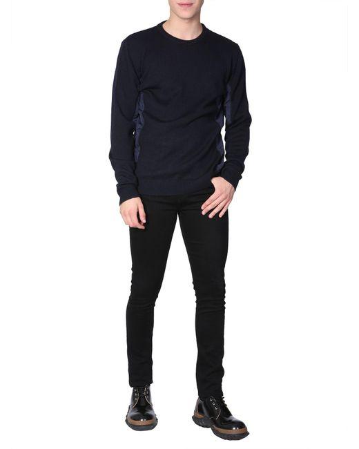 Les Hommes - Blue Round Collar Wool Blend Jumper With Nylon Insert for Men - Lyst