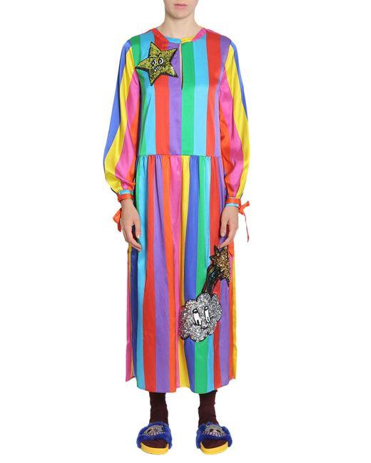 ABITO ARCOBALENO IN MISTO SETA CON APPLICAZIONI CON PAILLETTES di MIRA MIKATI in Multicolor