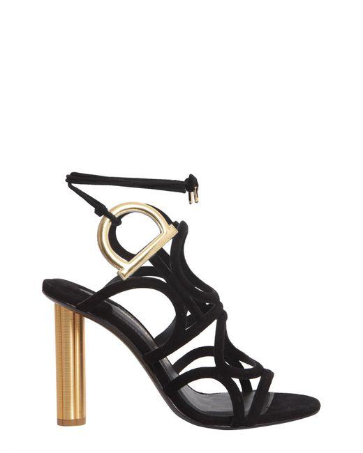 4b9d9d442229 Lyst - Ferragamo Vinci 105 Black Suede Golden Heel Sandals in Black ...