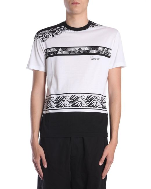 Versace - White Cotton T-shirt With Contrasting Baroque Print for Men - Lyst