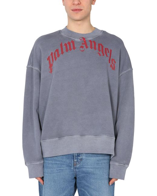 Palm Angels Gray Vintage Wash Curved Crew Neck Sweatshirt With Logo Print for men