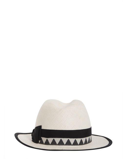 ... Borsalino - White Panama Quito Jacquard Straw Cap - Lyst cd446f3fadfb