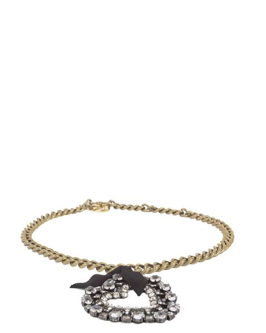 Lanvin - Metallic Small Necklace With Gros Grain Heart - Lyst