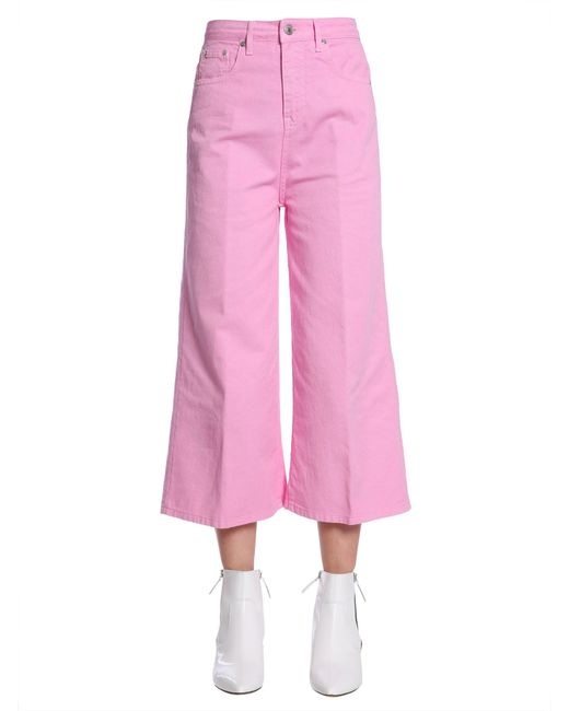 MSGM - Pink Cotton Denim Cropped Jeans - Lyst