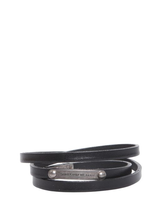 Saint Laurent - Black Multi-wrap Leather Bracelet - Lyst