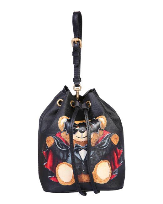 "Moschino Black Mini ""teddy Bear"" Saffiano Leather Bucket Bag"