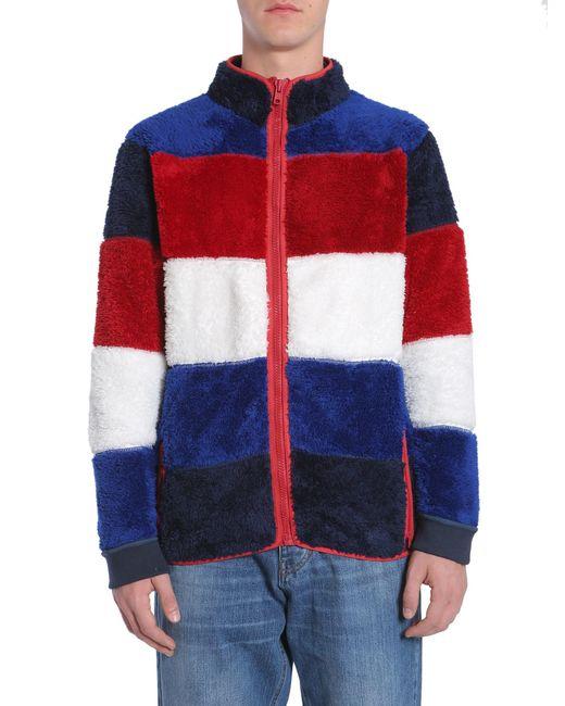 premium selection 76197 b536a Men's Red Giacca In Pile Con Righe A Blocchi Di Colore