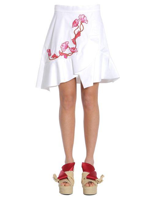 Carven - White Flower Embroidered Ruffled Skirt - Lyst