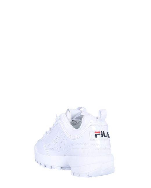 Fila Disruptor M Low Sneakers In Glossy Leather in White for