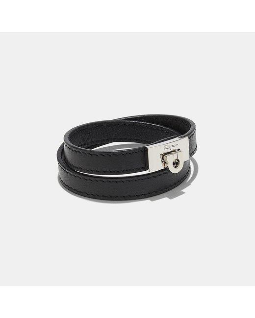 Ferragamo | Black Double Wrap Bracelet | Lyst