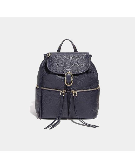Ferragamo - Blue Medium Carol Gancio Pebbled Calfskin Backpack - Lyst