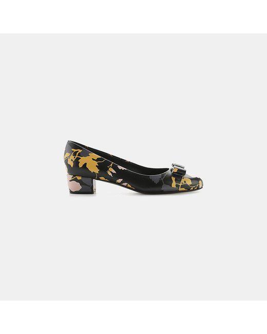 Ferragamo | Black Vara Flower Pump - Saffiano Leather | Lyst