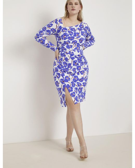Eloquii Blue Draped Front Sheath Dress