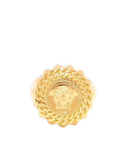 Versace Metallic Gold Medusa Signet Ring for men