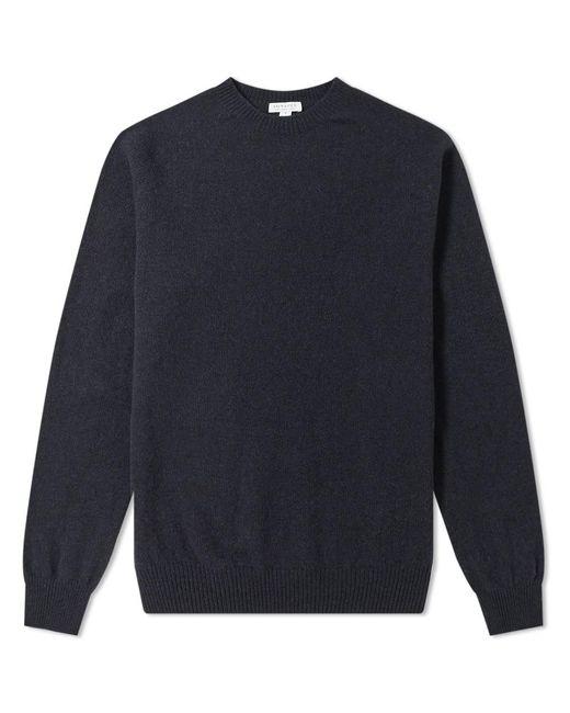 Sunspel Blue Lambswool Crew Knit for men