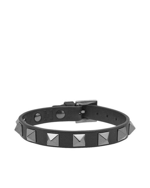 Valentino   Black Leather Rockstud Bracelet   Lyst