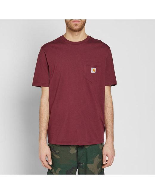 Lyst carhartt wip carhartt pocket tee in red for men for Carhartt burgundy t shirt