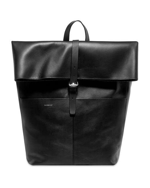 Sandqvist Black Antonia Leather Rolltop Bag for men