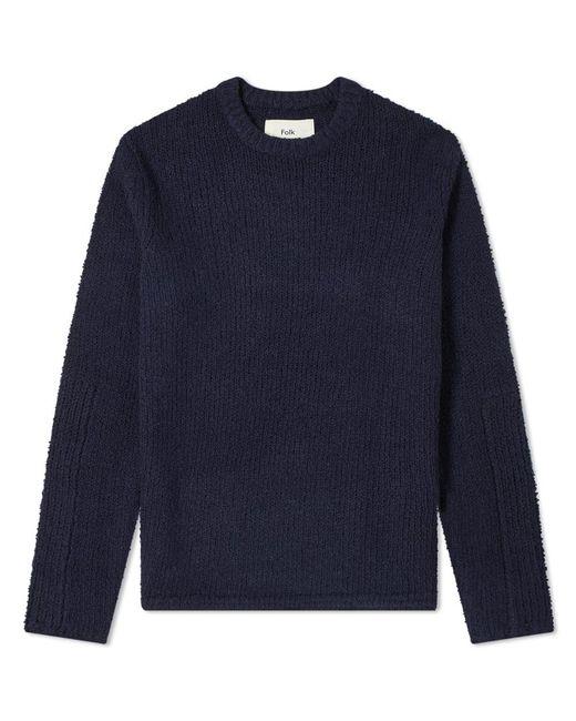 Folk Blue Textured Crew Knit for men