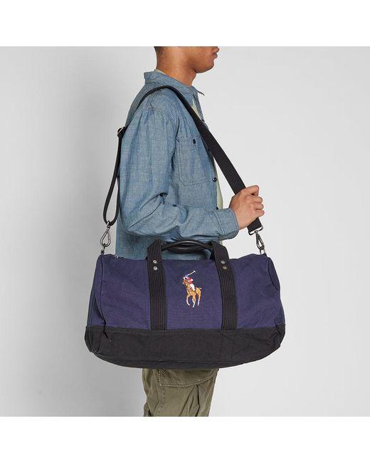 1502d508e6 ... Polo Ralph Lauren - Blue Polo Player Canvas Duffle Bag for Men - Lyst