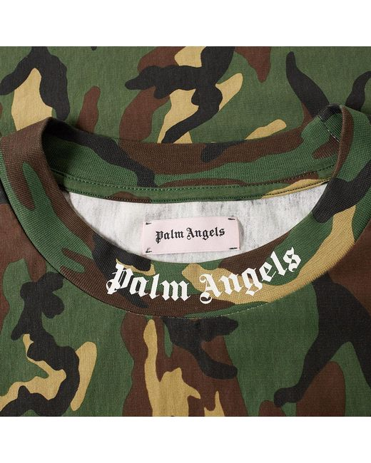 Palm angels Camo Logo Over Tee in Green for Men