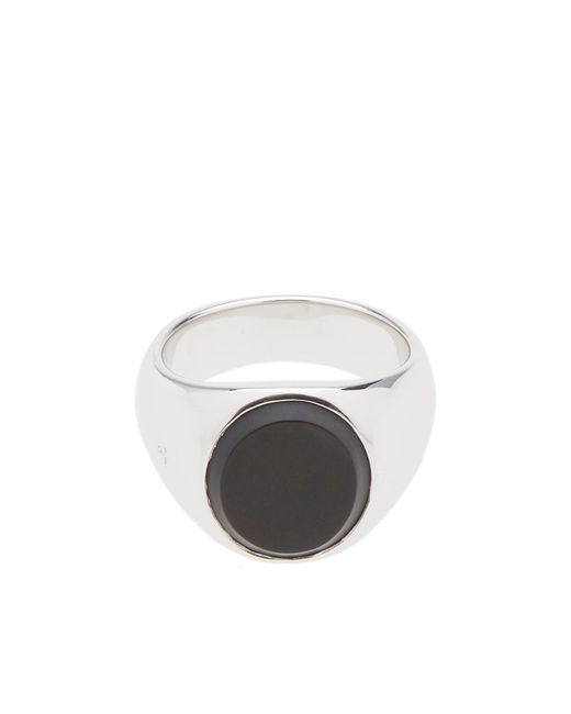 Tom Wood Metallic Oval Black Onyx Ring for men