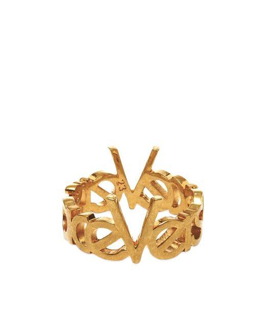 Versace Metallic 90s Logo Ring for men