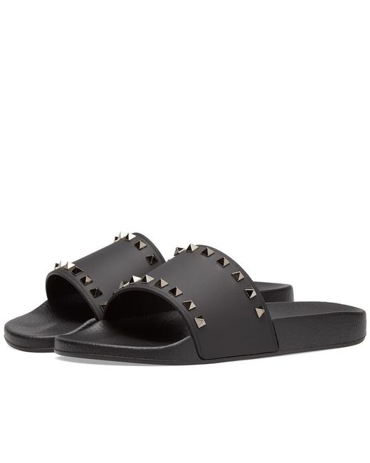 Valentino - Black Garavani Rockstud Rubber Slides for Men - Lyst