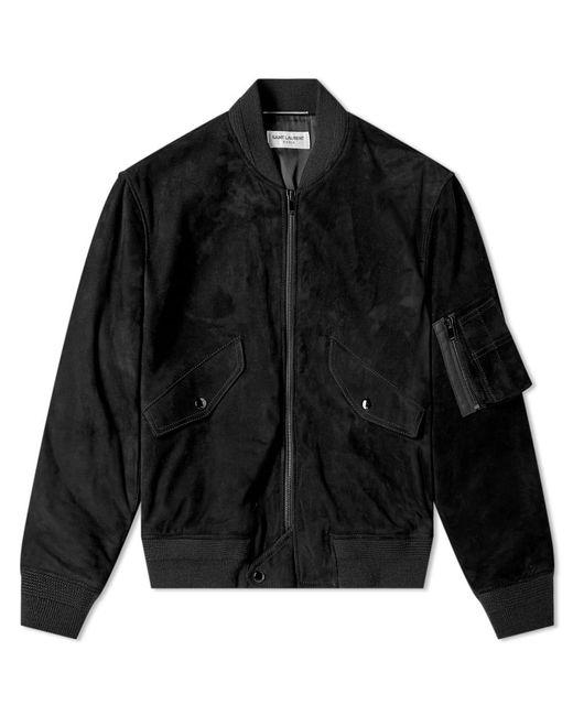 Saint Laurent Black Suede Bomber Jacket for men